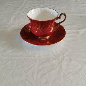 Sutherland Maroon Red Gold Leaf Teacup & Saucer